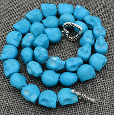Necklace 18� Tibetan silver love clasps Blue Turquoise Carved Skull Head Mala