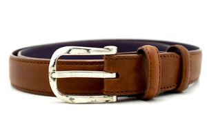 Elliot Rhodes Original Women Napa Feel Leather Belt Slim Brown Size 32
