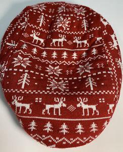 Wembley Fairisle Holiday Christmas Red Knit Men's Cap/Beret Reindeer New One Sz.