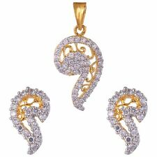 Fashion Cubic Zirconia Designer Party White Pendant Earring Set  2P M1 /14 19
