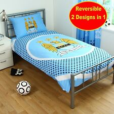 NEW MANCHESTER CITY SINGLE DUVET QUILT COVER SET BOYS KIDS FOOTBALL BLUE BEDROOM