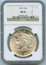 Peace Silver Dollar 1923 NGC Certfied and Graded $1 MS65