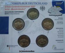 Deutschland Off. Blister 2-Euro-Gedenkmünzenset 2007 Schwerin 5 x 2 Euro ADFGJ
