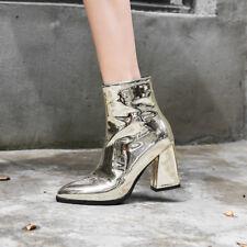 Lackleder Blockabsatz Damenschuhe Stiefel Stiefelletten Lila TOP Fashion 32-43