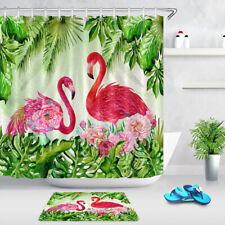 Couple Flamingo Red Flowers Tropical Leaves Shower Curtain Set Bathroom Decor