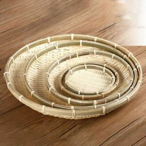 Natural Eco Friendly Handmade Bamboo Basket Fruit Vegetables Bread Rattan Basket