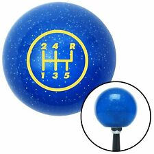 Yellow 5 Speed Shift Pattern - 5RUR Blue Metal Flake Shift Knob 16mm x 1.5
