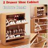 2 Drawer Wooden Shoe Cabinet Storage Cupboard Shoe Rack Unit Footwear Stand NEW