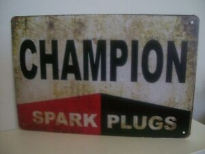 CHAMPION SPARK PLUGS ADVERTISING TIN SIGN GARAGE REPAIR PARTS VINTAGE DESIGN
