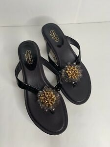 Coach Women's Norice Brown Logo Wedge Jewels Detail Sandals Platform Flip Flop