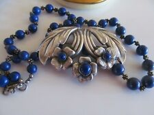"Vintage Sterling Silver Floral Lapis Blue Brooch Pin & 17"" Bead Necklace"