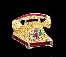 Pin w/Rhinestones - Euc Vintage Style Gold Tone Phone