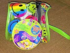 Vintage LISA FRANK Round Mini Plastic Pouch Bag Purse w/ RAINBOW Smiley Faces