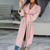 Korean Womens Long Coat Jacket Trench Windbreaker Belt Parka Outwear Cardigan