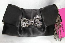 NEW! NWT! BETSEY JOHNSON Black Satin Bridal Wedding Bow Flap Zip Clutch Bag