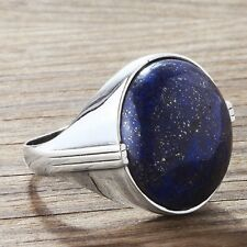925 Sterling Silver with Large NATURAL BLUE LAPIS in Mens Ring sizes 7 to 15 US