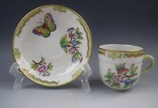 Herend China QUEEN VICTORIA-GREEN BORDER Demitasse Cup & Saucer Set Motif 3  EX.