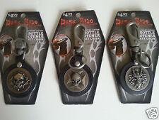 3 ,Dark Side Biker Key Chains & Bottle Opener. Skull, Dragon. Leather & Steel