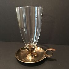"""Vintage Brass Candle Holder With Handle And Glass Globe/chimney 10"""" tall"""