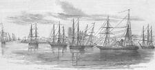 URUGUAY. Ships, Colonia del Sacramento, River Plate, antique print, 1846