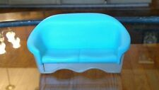 Vintage 1993 Fisher Price Loving Family Doll House Blue And Tan Sofa Love-Seat