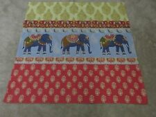 Indian Elephant Elephants red gold duck egg blue remnant fabric piece 90x110cm