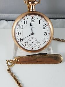 Elgin Nathal pocket watch, Railroad dial, works , nice collector pocket watch !
