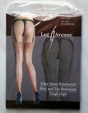New Full Fashion Black Seamed Tan Beige Stockings Contrast Reinforced Toe & Heel