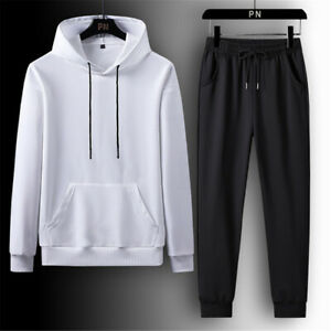 Men Tracksuit 2 Piece Casual Pants Hoodie Sweatsuit Hip Hop Sweatshirt Sport Set