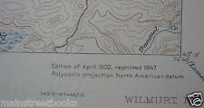 WILMURT NY Adirondack Park TOPOGRAPHICAL MAP 1947 Morehouse NY Ohio NY Ft. Noble