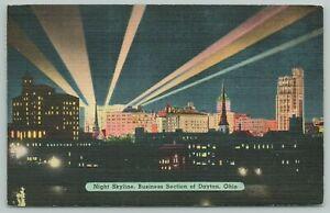 Dayton Ohio~Business Section Night Skyline~1940s Linen Postcard