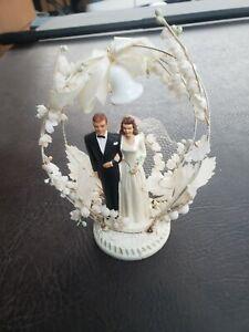 Vintage Bride & Groom Wedding Cake Topper Hand Painted. IVORY