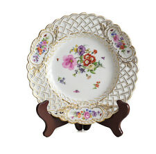 "Meissen Hand Painted Porcelain Reticulated 9.25"" Dish c1900. Florals & Insects"