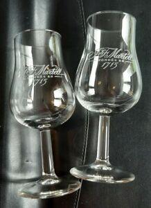 "Pair of J&F Martell 1715 Cognac Brandy Tasting Glasses Height 5.25"" - exc cond"