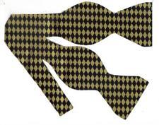 Black & Gold Bow tie / Metallic Gold Retro Diamonds on Black / Self-tie Bow tie