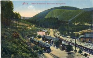 """AK Bahnhof u. """"Hotel am Wasserfall"""" STEINERNE RENNE bei WERNIGERODE 1908"""