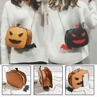 Funny Pumpkin handbag Halloween Women Leather Shoulder Cross Body Bag Tote Purse