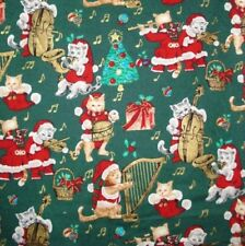 1 yard  Santa Kitties Christmas  Fabric