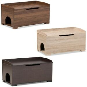 Cat Litter Box Cover Cat House End Table Furniture Walnut Dark Brown Oak Rect.