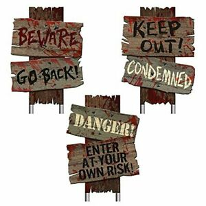 Beware Signs Yard Stakes 3 Ct Halloween Home Decoration