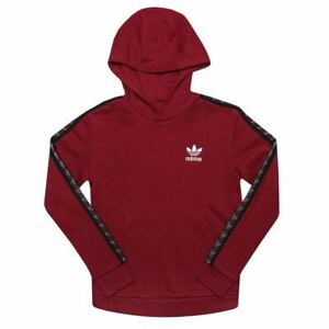 Boy's adidas Originals Junior Tape Fleece Lined Hoodie Sweatshirt in Red