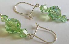 Green Swarovski Crystal on Sterling Silver Wire Earrings
