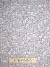 Christmas Neighborhood Houses Gray Cotton Fabric Studio E Winter Essentials YARD