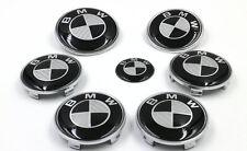 7pcs BMW Black/Silver BMW Carbon Fiber Style Emblem Logo Badge Set