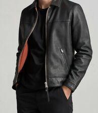 All Saints Mens Hayne Biker Leather Jacket Black Small New