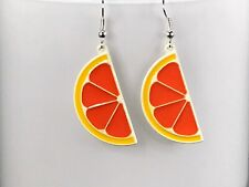 ORANGE SLICE EARRINGS enamel orange retro earrings cool earrings cute quirky