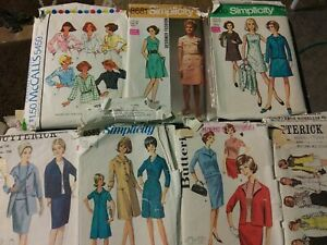 7 (seven) vintage sewing patterns - 60s & 70s Women's size 16