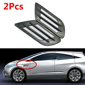 Car Carbon Fiber Style Side Air Flow Vent Fender Hole Cover Intake Grille Duct