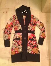 ANTHROPOLOGIE Xs SWEATER Coat CARDIGAN LiaMOLLY FLORAL Euc