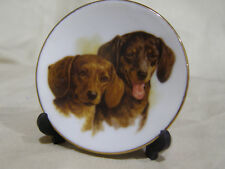 Small Red And Black Dachshund Plate With Plastic Stand